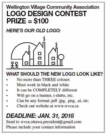 Text in Image: PRIZE = $100. HERE'S OUR OLD LOGO:. WHAT SHOULD THE NEW LOGO LOOK LIKE?  No more than THREE colours. Must work in black and white. It can be COMPLETELY different. Will go on a banner, t-shirts, etc. Can be any format:.pdf .jpg, .png, .ai, etc. Check out website at http://www.wvca.ca and DEADLINE is JAN. 31, 2018 . Send to wvca.ottawa.president@gmail.com , Please include your contact information.
